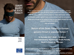 "Invitation Debate ""Return of the death penalty in Europe: genuine threat or populist fiction?"""